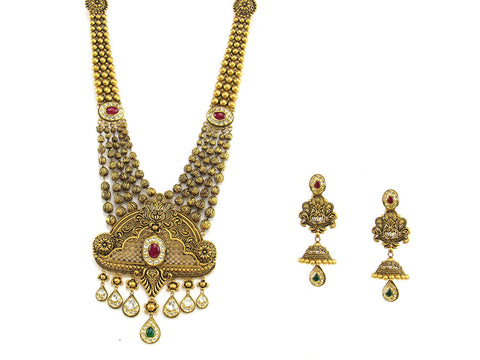 145.65g 22Kt Gold Antique Necklace Set India Jewellery