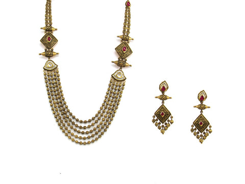 91.05g 22Kt Gold Antique Necklace Set India Jewellery