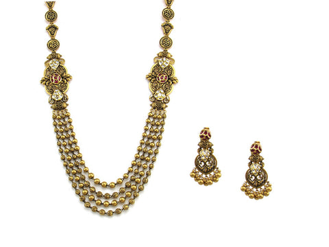 96.45g 22Kt Gold Antique Necklace Set India Jewellery