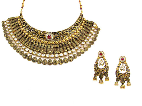 153.30g 22Kt Gold Antique Necklace Set India Jewellery