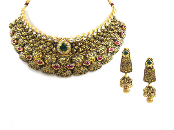 97.75g 22Kt Gold Antique Necklace Set - 1859