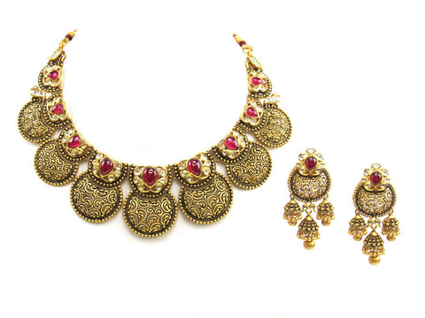 125.10g 22Kt Gold Antique Necklace Set India Jewellery
