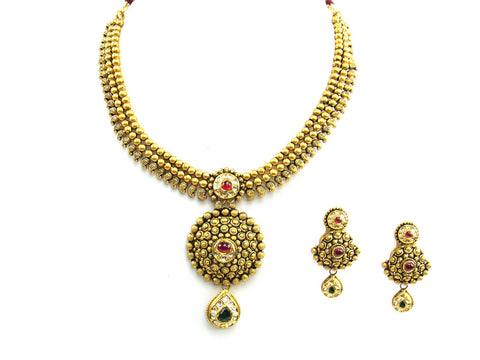 60.95g 22Kt Gold Antique Necklace Set India Jewellery