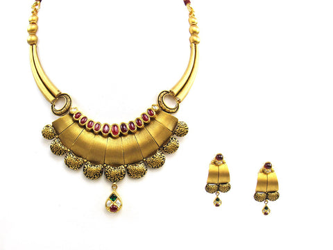 59.53g 22Kt Gold Antique Necklace Set India Jewellery