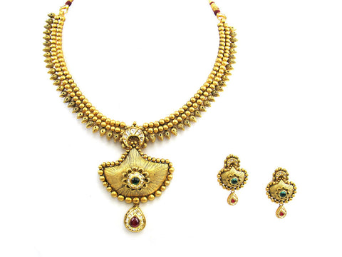 72.60g 22Kt Gold Antique Necklace Set India Jewellery