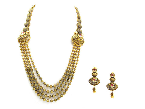 101.62g 22Kt Gold Antique Necklace Set India Jewellery