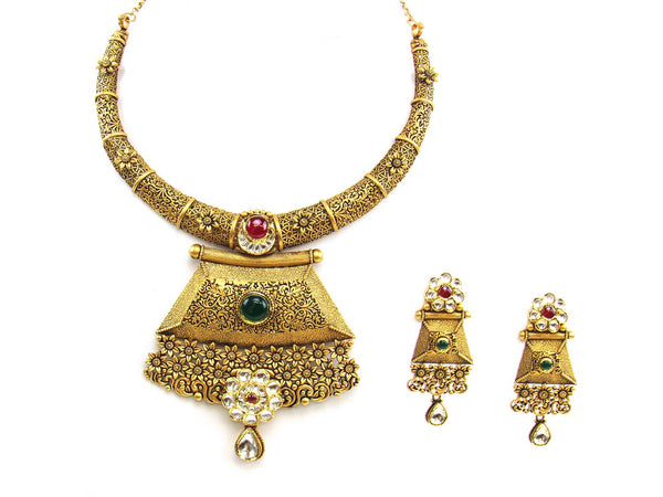 79.11g 22Kt Gold Antique Necklace Set - 1875