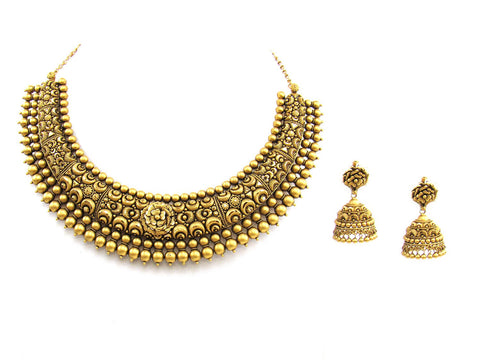 78.74g 22Kt Gold Antique Necklace Set India Jewellery