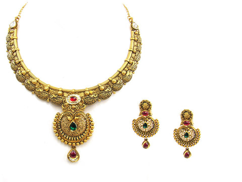 68.60g 22Kt Gold Antique Necklace Set India Jewellery