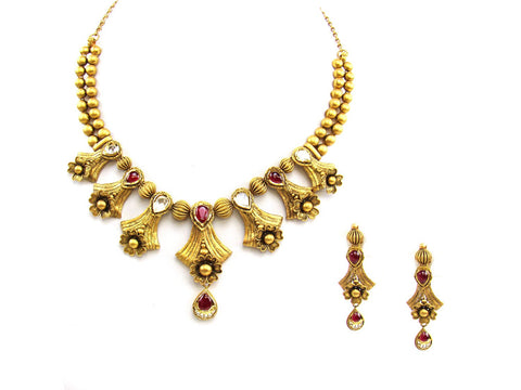 58.34g 22Kt Gold Antique Necklace Set India Jewellery