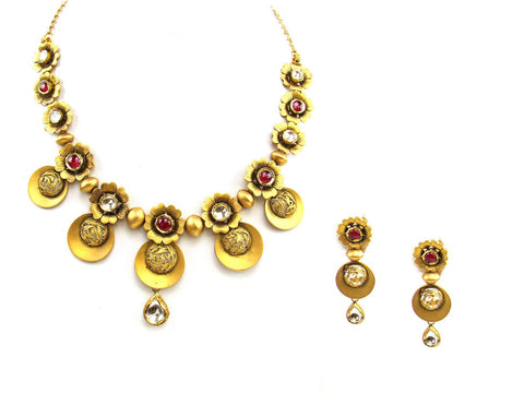 62.40g 22Kt Gold Antique Necklace Set India Jewellery