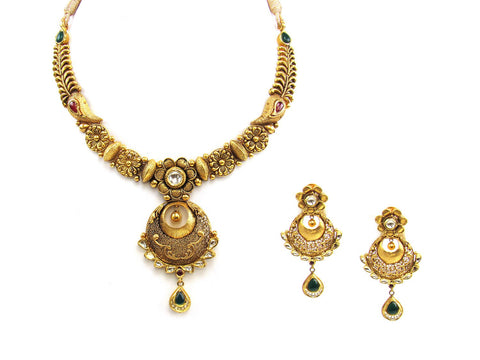 68.20g 22Kt Gold Antique Necklace Set India Jewellery