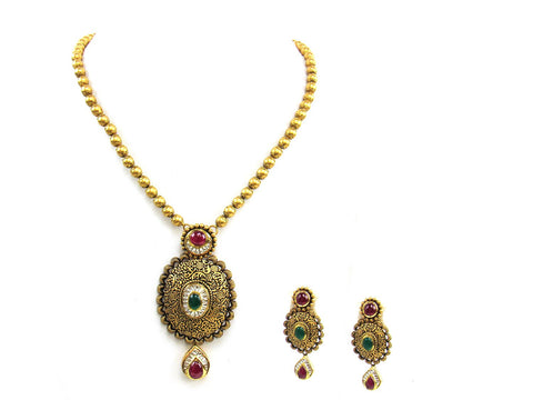 66.75g 22Kt Gold Antique Necklace Set India Jewellery