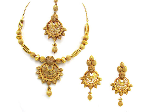 100.10g 22Kt Gold Antique Necklace Set India Jewellery