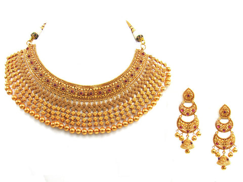 115.36g 22Kt Gold Antique Necklace Set India Jewellery