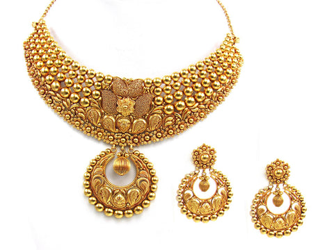 101.43g 22Kt Gold Antique Necklace Set India Jewellery