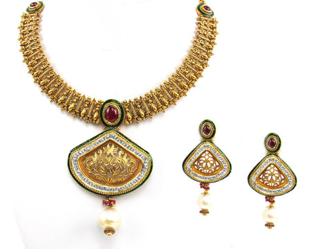 113.55g 22Kt Gold Antique Necklace Set India Jewellery