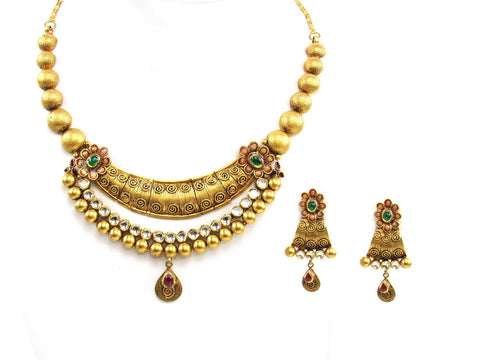 73.30g 22Kt Gold Antique Necklace Set India Jewellery