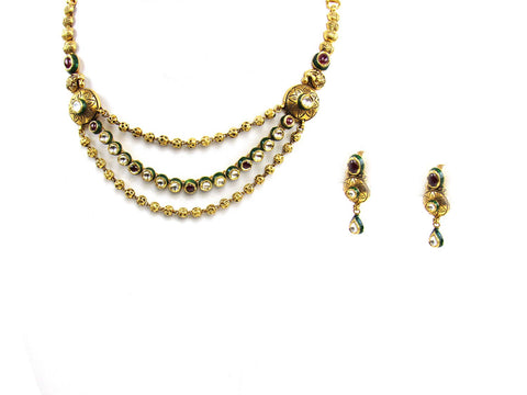 37.20g 22Kt Gold Antique Necklace Set India Jewellery