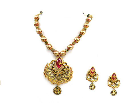 88.21g 22Kt Gold Antique Necklace Set India Jewellery