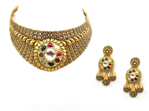 95.40g 22Kt Gold Antique Necklace Set - 2008