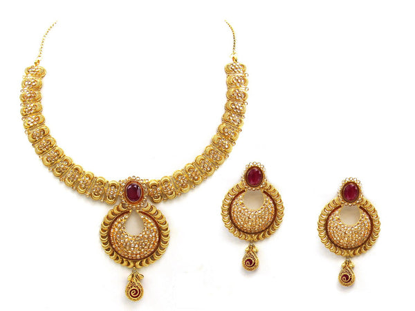 72.25g 22Kt Gold Antique Necklace Set - 2043