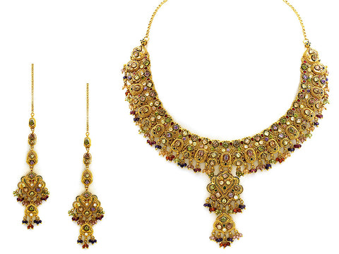 109.95g Antique Necklace Set India Jewellery
