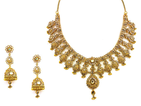 109.50g Antique Necklace Set India Jewellery