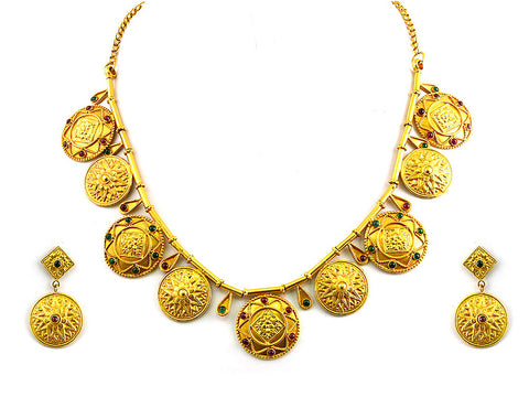 58.93g Antique Necklace Set India Jewellery