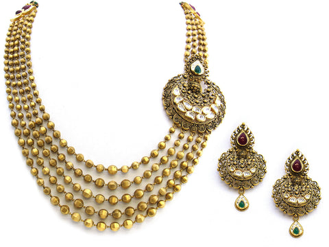 111.35g 22Kt Gold Antique Necklace Set India Jewellery