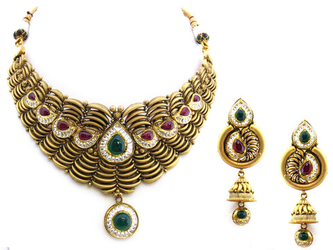116.20g 22Kt Gold Antique Necklace Set India Jewellery