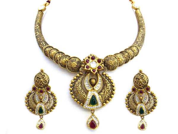 96.45g 22Kt Gold Antique Necklace Set - 235