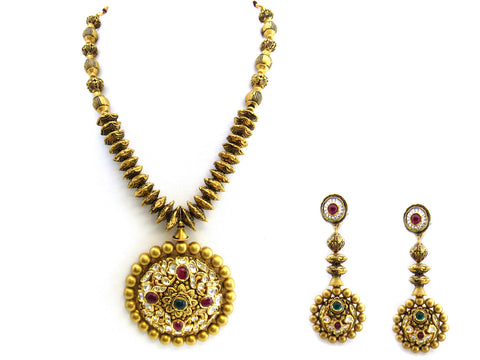 143.35g 22Kt Gold Antique Necklace Set India Jewellery