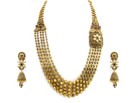 114.15g 22Kt Gold Antique Necklace Set India Jewellery