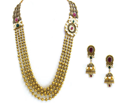 114.10g 22Kt Gold Antique Necklace Set India Jewellery