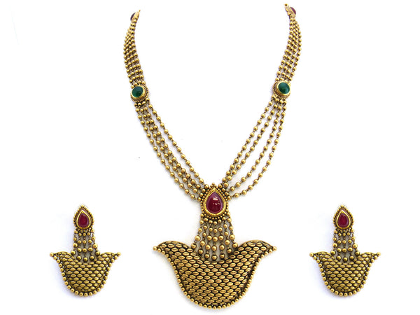 71.55g 22Kt Gold Antique Necklace Set - 242