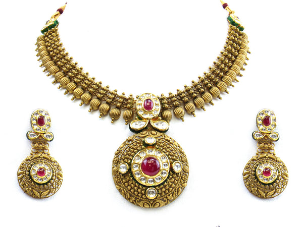 73.18g 22Kt Gold Antique Necklace Set - 244