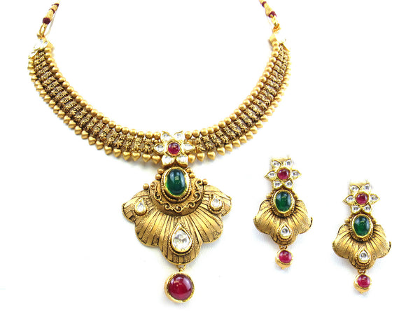 55.40g 22Kt Gold Antique Necklace Set - 245