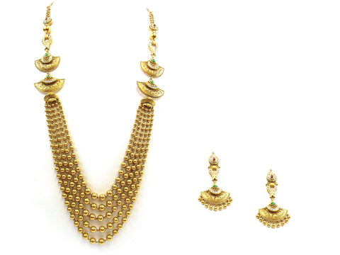 105.55g 22kt Gold Antique Necklace Set India Jewellery