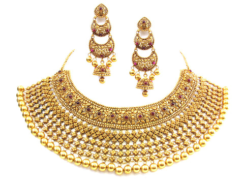 122.12g 22kt Gold Antique Necklace Set India Jewellery