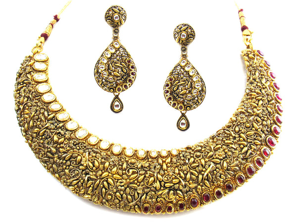 98.83g 22kt Gold Antique Necklace Set - 252