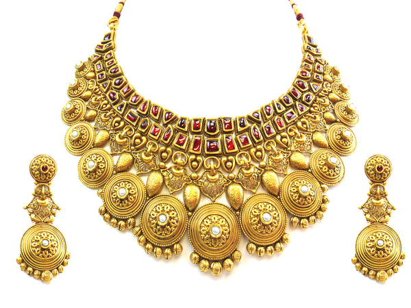 140.95g 22kt Gold Antique Necklace Set - 253
