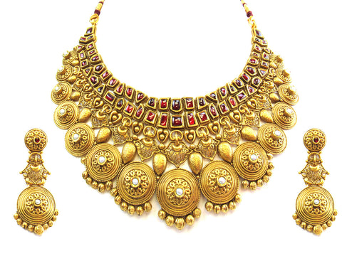 140.95g 22kt Gold Antique Necklace Set India Jewellery