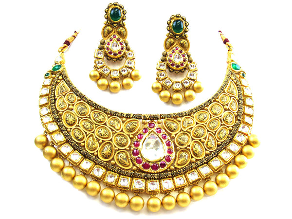 123.27g 22kt Gold Antique Necklace Set - 254