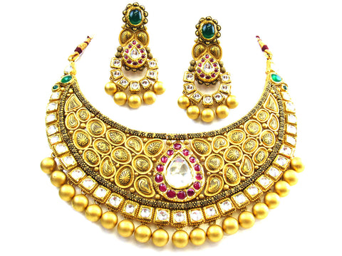 123.27g 22kt Gold Antique Necklace Set India Jewellery