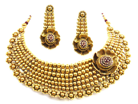 132.87g 22kt Gold Antique Necklace Set India Jewellery