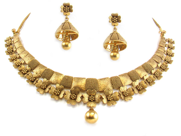 52.60g 22kt Gold Antique Necklace Set - 260