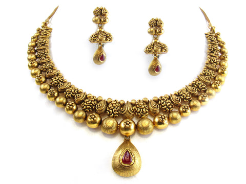73.05g 22kt Gold Antique Necklace Set India Jewellery