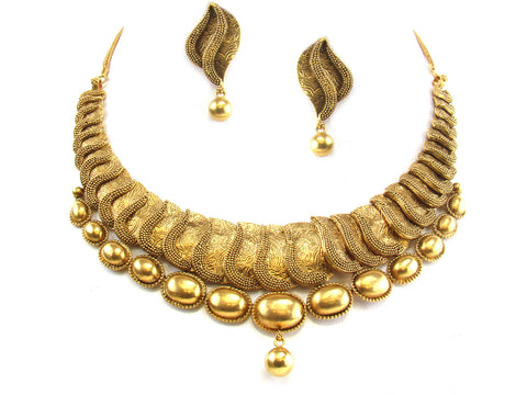 64.20g 22kt Gold Antique Necklace Set India Jewellery