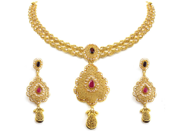 48.85g 22kt Gold Antique Necklace Set - 266